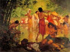 """Fernando Amorsolo y Cueto, Filipino painter, was an important influence on contemporary Filipino art and artists, even beyond the so-called """"Amorsolo school"""". Subjects: Philippine Genre, historical and society Portraits. Filipino Art, Filipino Culture, Manila, Philippine Art, Impressionism, Art History, Amazing Art, Oil On Canvas, Cool Art"""