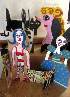 cardboard group - Gary Goodman Cardboard Sculpture, Animal Projects, Minnie Mouse, Disney Characters, Fictional Characters, 3d, Group, Painting, Animals