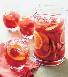 Strawberry and Peach Sangria  ..  How to = Mix white wine, Essensia, strawberries, peach liqueur, peaches, orange slices, lemon slices, and strawberry syrup in large pitcher, smashing citrus slices slightly. Let stand at room temperature at least 2 hours or chill up to 4 hours. Serve sangria over ice. Enjoy!