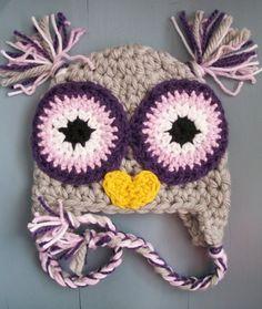 Baby Girl Crochet Owl Beanie SIZE NEWBORN-12 MONTHS. $20.00, via Etsy.