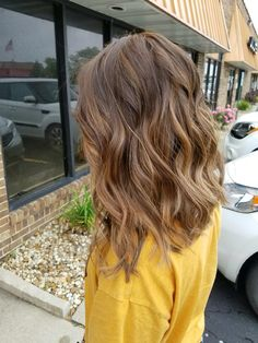 Long Choppy Bob. Caramel brown with highlights. Loved my haircut!