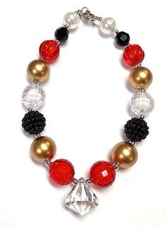 Red Gold Black Girls Bubblegum Chunky Necklace Baby Girls