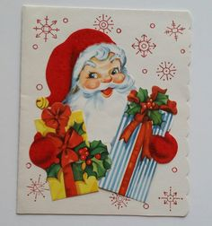 ~Jolly Santa Holding Presents~. Very Clean Card. | eBay!