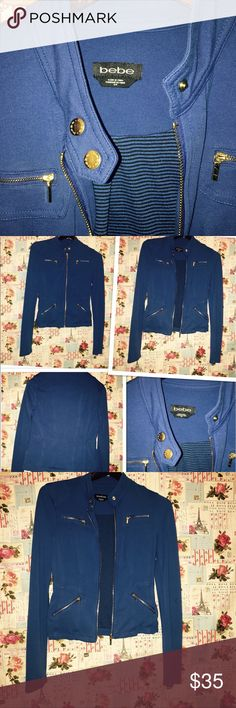 Bebe jacket size S Blue Bebe jacket size S gently used price is firm 🌺 bebe Jackets & Coats