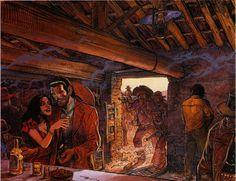 Jean Giraud & Moebius - Blueberry -  Les Trois Bandits (Three Bandits) - Acrylic and india ink