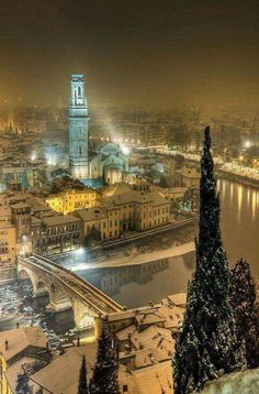 Winters night over Verona, Italy. I went to Verona in 2000 for a choir trip. Places Around The World, Oh The Places You'll Go, Places To Travel, Places To Visit, Around The Worlds, Beautiful World, Beautiful Places, Simply Beautiful, Places In Italy