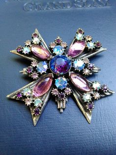Vintage Florenza Maltese Cross Brooch OVER SIZED by Phabulos