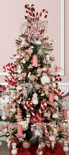 Christmas tree - pink and red vintage candy cane theme