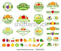 Set of fruit and vegetables logo templates. Fruit and vegetables labels with sample text. Fruits and vegetables icons for groceries, agriculture stores, packaging and advertising. - stock vector