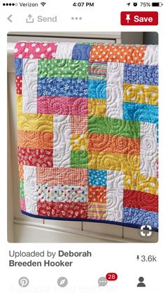 Jelly Sandwich Quilt Pick your colors and use the same colors again and again! This makes the quilts unique to you.Jelly Sandwich Quilt or an easy scrappy or stash-busting quiltPull Out Your Brightest Fabrics for This Easy Quilt - Quilting DigestImag Scrap Quilt, Jellyroll Quilts, Lap Quilts, Amish Quilts, Batik Quilts, Quilting Tutorials, Quilting Projects, Quilting Designs, Sewing Projects