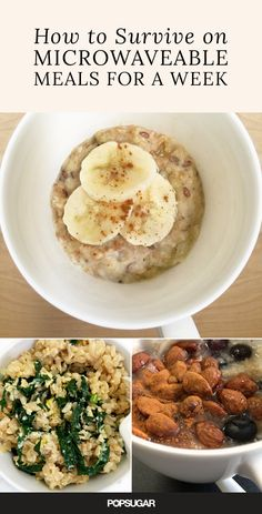 Who says microwavable meals can't be healthy and delicious? These 15 meals, all designed to be microwaved in a large porcelain mug, are easy ways to eat better, quicker, and less messy during the week(Recetas Fitness Microondas) Quick Meals To Make, Fast Easy Meals, Meals For One, Healthy Microwave Meals, Microwave Mug Recipes, Healthy Breakfasts, Healthy Foods, Healthy Eating, Healthy Recipes