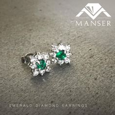 White gold diamond and emerald earrings. Emerald Earrings, Stud Earrings, White Gold Diamonds, Jewelry Making, Wedding Rings, Engagement Rings, Jewels, Enagement Rings, Bijoux