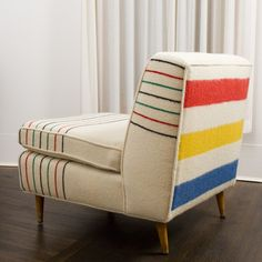 Ivory Wool Hudson-Style Mid-Century Sofa Chair NuBe Green recovered this refurbished chair with vintage wool blankets.