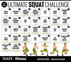 Try our ultimate squat challenge, featuring 12 squats that tighten and tone. Master a different squat workout or increase your reps each day to score your best booty ever. 30 Day Squat Challenge, Workout Challenge, Workout Tips, Squat Workout, Pilates Workout, Fit Girl Motivation, Fitness Motivation, I Work Out, Get In Shape