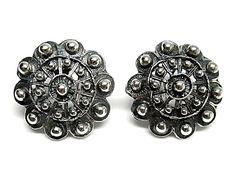 Pendientes de plata de primera ley charro oxidado con cierre omega grandes de 2,5 cm de diametro. REF.:110158730235. PRECIO: 56,90€