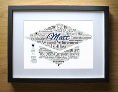 Personalized Graduation Cap Gift for Boys - Men - Degree Graduate - Word Art - Girl - Congratulations - Masters Pass