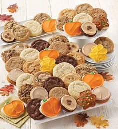 This fall, send a cookie gift to all of your friends. Cheryl's fall-themed cookies and treats are the sweetest way to send a message during the autumn season. Fall Decorated Cookies, Fall Cookies, Cut Out Cookies, Pumpkin Cookies, Peanut Butter Frosting, Cookie Frosting, Peanut Butter Cookies, Sugar Cookies, Triple Chocolate Chip Cookies