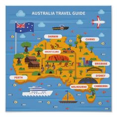 Buy Australia Travel Guide Illustration by macrovector on GraphicRiver. Australia travel guide with map flag ocean and sights flat vector illustration. Editable EPS and Render in JPG format Perth, Brisbane, Melbourne, Sydney, Australia For Kids, Australia Travel Guide, Australia Map, Australia Crafts, Travel Maps
