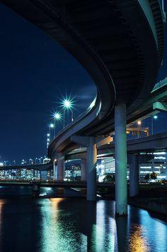 "land-city: ""ariake JCT 3 by shinashinax   Flickr"" Tokyo Tower, Night Pictures, Building Structure, Tokyo Japan, Japanese Fashion, Marina Bay Sands, Car Game, Good Night, Rising Sun"