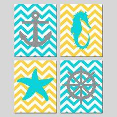 Chevron Beach Nautical Art Quad - Starfish, Seahorse, Anchor, Wheel Silhouette - Set of Four 8x10 Prints - Choose Your Colors on Etsy, $65.00