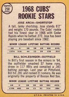 1968 Topps #258 Cubs Rookies - Jose Arcia / Bill Schlesinger Back
