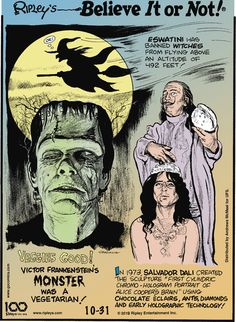 Ripley's Believe It or Not by John Graziano for October 2019 - GoComics Victor Frankenstein, Ripley Believe It Or Not, Comic Strips, October 31, Facts, Comics, Monster Mash, Movie Posters, Create
