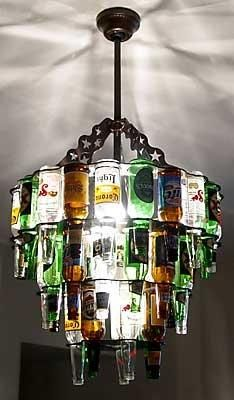 Beer bottle light - Neat idea for a game room!! :)