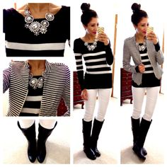 white jeans, black boots, striped sweater with striped jacket