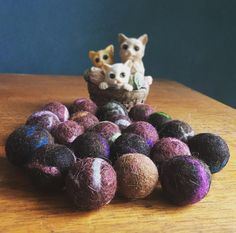 Dark Felted Catnip Balls, Cat Toys, Set of 3, Made with Organic Catnip