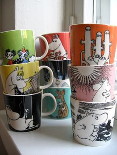 Moomin Mugs - a series of collectable mugs with Moomin characters. They are manufactured by Finnish ceramics brand Arabia. The mugs are designed by Tove Slotte, images are based on the original drawings by cartoonists Tove and Lars Jansson. Moomin Mugs, Tove Jansson, Idee Diy, World Best Photos, Scandinavian Design, Tea Party, Tea Cups, Marimekko, Inspiration