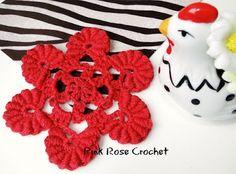 PINK ROSE CROCHET : Flor com Pétalas Rococó, Bullion-stitch flower