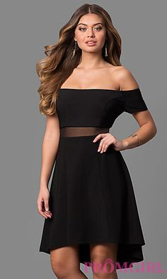 High-Low Off-the-Shoulder Sheer Waist Party Dress