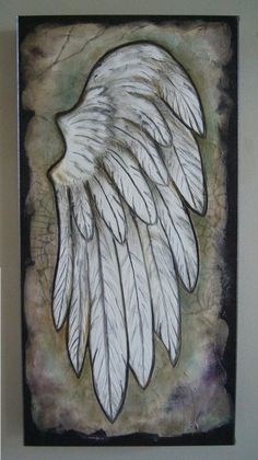Angel Wing  Textured Acrylic Art  Inspirational Angel Art.. Original Textured painting> $200.00: