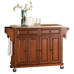 Found it at Wayfair - Large Kitchen Cart with wheels in Classic Cherry