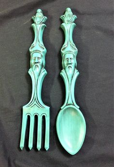 1960s Vintage Turquoise Color Ceramic Tiki Fork and Spoon Wall
