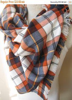 on sale Denver Broncos scarf-orange navy blue scarf-Flannel Tartan plaid blanket scarf/shawl winter fashion-women's scarves-men's scarves ac