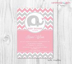 Niña bebé ducha invitación elefante rosado y gris por ceremoniaGlam