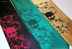 Mens skull necktie  Kelly green microfiber necktie by RokGear