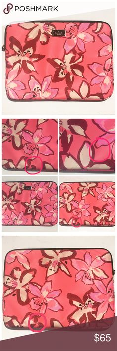 """KSNY Laptop Case Kate Spade Blake Ave Tiger Lily Floral Laptop Case. Pink/Coral Multi.   Beautiful case in excellent condition, barely any use. Shows a couple minor pen marks not highly noticeable, clean!  Fits 13"""" MacBook perfect!    🌹14 x 10  🌹zip top closure  🌹water resistant pvc  Any questions lmk, quick ship! Kate Spade Accessories Laptop Cases"""