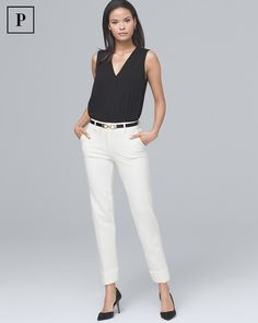 853e1730c24114 Women s Petite Effortless Girlfriend Pants by White House Black Market