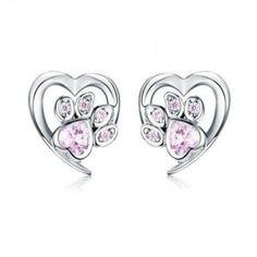 Girls Earrings, Heart Earrings, Stud Earrings, Color Plata, Blue Crystals, Sterling Silver Earrings, 925 Silver, Silver Jewelry, Heart Charm