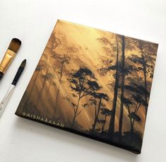 Here's a new easy landscape painting tutorial acrylic video for beginners! In this painting I will show you how to paint this glowing forest acryli. Canvas Painting Tutorials, Acrylic Painting Lessons, Acrylic Painting For Beginners, Simple Acrylic Paintings, Diy Canvas Art, Acrylic Painting Canvas, Metallic Gold Paint, Gold Acrylic Paint, Using Acrylic Paint