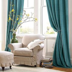 Turquoise Velvet Drapes: Velvet Helps Absorb Noise