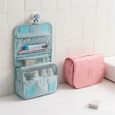 Hanging Toiletry Bag Travel Organizer Cosmetic Wash Make Up Bag Case for Women Men Toiletry Kit Cosmetic Bag Travel Accessories at shoppingdiscounts Travel Toiletries, Travel Cosmetic Bags, Travel Bags, Travel Toiletry Bag, Cosmetic Pouch, Large Makeup Bag, Bag Women, Makeup Pouch, Makeup Bags
