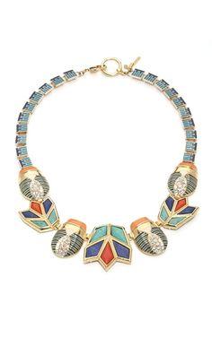 LeLe Sadoughi Blue Flame Scarab & Lotus Necklace by milagros