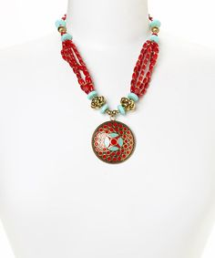Another great find on #zulily! Gold & Coral Medallion Necklace by Evening Crystals #zulilyfinds