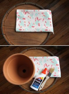 DIY: Fabric Covered Terra Cotta Pots (cute gift for new home owners!)