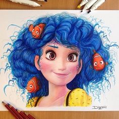 Dory from Finding Nemo as a human! Amazing drawing by @dinotomic _ Also check our animal page out for lots of cuteness  @animaldisplay