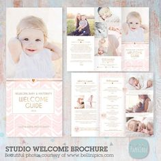 Client Welcome Guide - Newborn, Maternity and Baby - Trifold Brochure Flyer - DL Size Sell Sheet an Photography Brochure, Photography Pricing, Photography Business, Free Font Websites, Adobe Photoshop, Baby Programs, Brochure Design, Brochure Ideas, Flyer Design