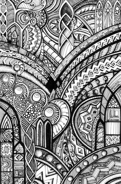 another artwork that should be by the yard. Fantastic.  Psychedelic Romanesque 2 by *Artwyrd #Zentangle